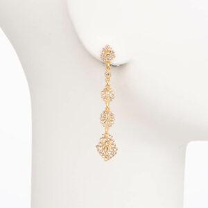 Orecchini perno pendenti oro cristalli 1